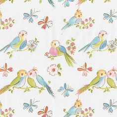 bird fabric for pillows, drapes, anywhere in a girl's room