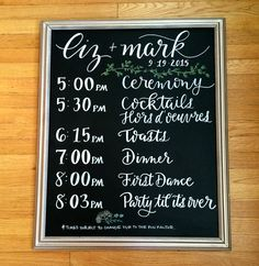 Wedding Chalkboard Signage :: Order of Events