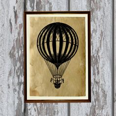 Antique air balloon print on handmade antique paper. Beautiful 8.3 x 11.7 inches (A4 size) old looking antiqued decoration for your home and office.