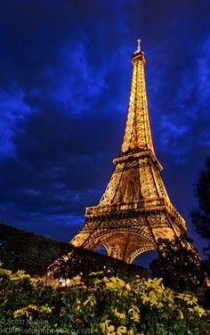 Eiffel Tower at dusk,