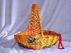 Поделка изделие Декупаж Плетение Плетенные корзинки Бумага Клей Салфетки Трубочки бумажные фото 8
