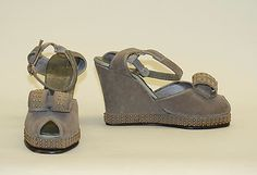 """Suede sandals 1948.  Back then, these were called """"wedgies.""""  Different times, different meaning."""