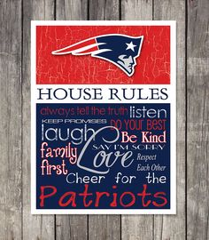 NEW ENGLAND PATRIOTS House Rules Art Print by fanzoneimprintz