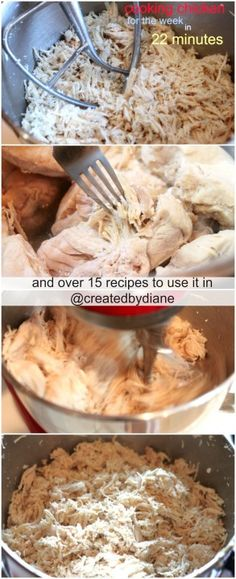 How to shred chicken along with how to cook it in 22 minutes for the week, this post includes over 15 recipe suggestions to use the chicken in and it's a huge time saver. Take a look at createdby-diane.com
