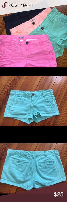 """Express Trouser Shorts..4 pair All size 00, but are not tight fitting. Could fit 0. Colors are Navy, Hot Pink, Turquoise/Bright Mint, and faded coral. All Express brand. Navy pair is from a Express Outlet. 2"""" inseam. Only 1 color shown in this listing, but each pair is also listed for sale, separately. Express Shorts"""