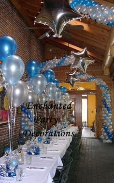 royal blue, white and silver decorations for 25 anniversary | Combination Balloon Dressed-up Centerpieces and Columns.