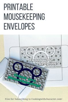Free Mousekeeping Envelopes for you to print and color! To download these cute, easy to print mousekeeping envelopes, all you have to do is subscribe to Cooking with Character - a Disney recipe blog! You'll also have access to other free printables, including recipe cards, planning sheets, and more!