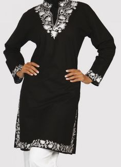 Long Designer Black Tunic Top India Elegance