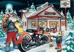 Santa stops at Harley Davidson too...