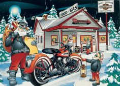 Santa stops at Harley Davidson too...