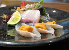 tip top omakase sushi and sashimi lunch, beautiful golden uni
