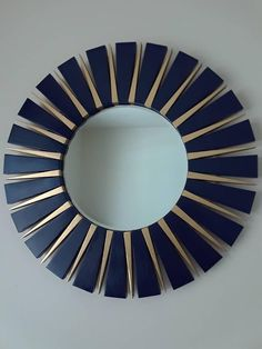 Navy Blue and Gold Sunburst Round Wall Mirror Mirror Decor Living Room, Gold Wall Decor, Diy Wall Decor, Wood Framed Mirror, Round Wall Mirror, Round Mirrors, Mirror Over Fireplace, Nautical Home Decorating, Starburst Mirror