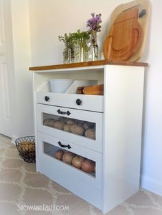 Potato and Vegetable Bin IKEA Rast Hack - How to make a potato, onion, vegetable storage chest with a drawer, made / hacked from an Ikea - Kitchen Vegetable Storage, Vegetable Bin, Onion Vegetable, Vegetable Drawer, Rustic Furniture, Painted Furniture, Diy Furniture, Furniture Storage, Furniture Repair