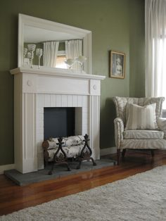 Faux Fireplace and Mantel in White Would rather have a real one, but this is very pretty. Fireplace Ideas, White Fireplace, Bedroom Fireplace, Fireplace Mantle, Fireplace Surrounds, Small Fireplace, Shiplap Fireplace, Fireplace Shelves, Farmhouse Fireplace