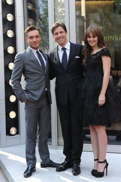Ed Westwick, Harry Winston CEO Frédéric de Narp and Leighton Meester at the Harry Winston Shanghai Pavilion June 2012