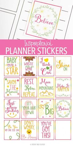 Inspirational planner stickers perfect for when you need a little motivation! These free printable planner stickers are perfect for women and work in most planners. A perfect way to customize your planner pages with a bright and cheery message!
