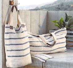 Roost Washed Linen Totes - Striped Blue *Next Day Shipping* – Modish StoreRoost Linen Striped Totes at White Nest MarketLinen Striped Tote - summer at the beach. Lined, pockets, and leather accents.Washed Linen totes on Sale. Enter to receive and a Grain Sack, Linen Bag, Fabric Bags, Handmade Bags, Small Bags, Tote Bags, Purses And Bags, Shoe Bag, Sewing