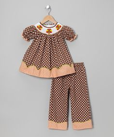 Take a look at this Brown Turkey Bishop Tunic & Pants - Toddler & Girls by Candyland on #zulily today!