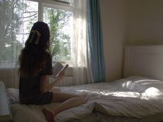 Reading a book on a calm summer morning.