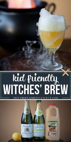 This sweet and sparkling Halloween Witches' Brew made with fruit juice is a fun party drink for all ages and can easily be made into an adult cocktail too. #halloween #brew #witchesbrew #kidfriendly #punch #party #drink Healthy Halloween, Halloween Desserts, Halloween Treats, Adult Halloween Drinks, Halloween Decorations, Holiday Drinks, Party Drinks, Fun Drinks, Holiday Recipes