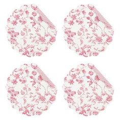 Set of four quilted cotton placemats with scalloped edges. Double-sided floral and stripe design.  Product: PlacematConstruction Material: CottonColor: RedDimensions: 17 DiameterCleaning and Care: Machine washable