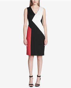 Calvin Klein V-Neck Colorblocked Sheath Dress - Black 16 Work Looks, Calvin Klein Dress, Colorblock Dress, Well Dressed, Diy Fashion, Sheath Dress, Dresses Online, Work Wear, Dress Outfits