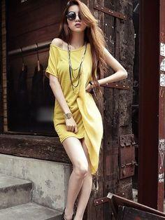 Charming Round Neck Chiffon Patch Yellow One-shoulder  Asymmetrical Dress