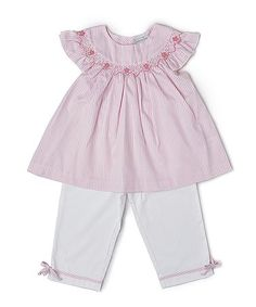 Love this Pink Smocked Bishop Top & White Pants - Infant & Toddler on #zulily! #zulilyfinds