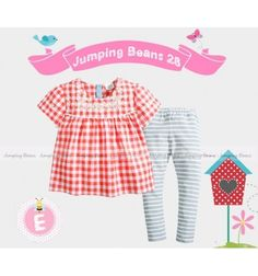 Baju bayi anak branded import Jumping Beans 28 E Tunic Set - Red Grey
