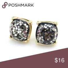 Black Glitter Stud Earrings Brand new/never worn! Kate Spade inspired.  Comes in original packaging. kate spade Jewelry Earrings