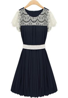 Navy Contrast Lace Bandeau Pleated Chiffon Dress