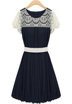 Navy Contrast Lace Bandeau Pleated Chiffon Dress
