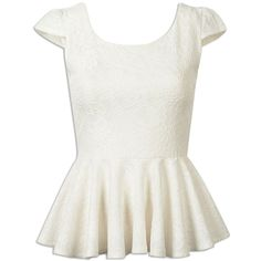 Choies White Ruffle Hem Cap Sleeve Lace Top ($14) ❤ liked on Polyvore featuring tops, blouses, shirts, choies, white, white top, white lace blouse, cap sleeve top, white cap sleeve blouse and lace top
