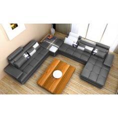 Phantom Contemporary Grey Leather Sectional Sofa w/ Ottoman - 2175.0000 our next sofa!