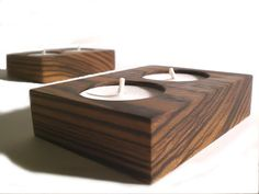 Zebra Wood Tea Light Holders by aromacandles - Home Decor Gift Idea