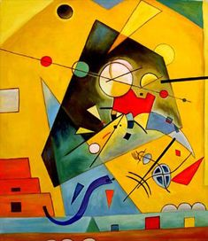 Wassily Kandinsky - Harmonie Tranquille ... I absolutely love the yellow, green and red tones that lay outside the cent of this image. This is painting is bursting with life and energy. It seems almost like a creature rising out of the sea, a creature that has existed through out the ages. Perhaps the center shape represents time or death.