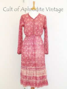 Vintage 70s Indian Cotton Gauze Ethnic Floral EMPIRE Waist Ties Puff Sleeves Full Tiered Skirt Hippie Boho Festival Midi DRESS