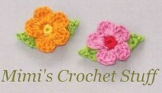 Crochet and Other Stuff: Little flowers with leaves - free crochet pattern. ☀CQ #crochet #crochetflowers