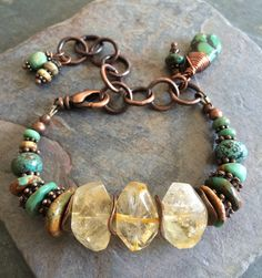 OOAK Turquoise Citrine and Copper Chunky Bracelet von esdesigns65