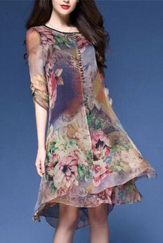 Women's Casual/Daily Vintage Loose Chinese Style Dress