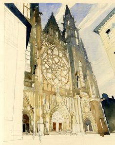 Watercolour Sketch - West front of Prague Cathedral www.nickhirst.co.uk
