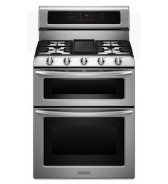 KitchenAid® 30-Inch, 5-Burner Freestanding Double Oven Range with Even-Heat™ Convection.  My mom has this oven and loves it.  And I can't wait to go back to a gas stove top!