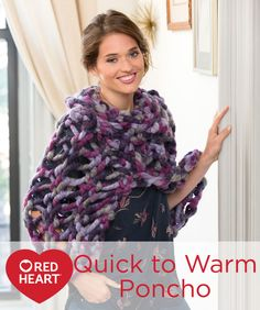 Knitting Patterns For Jumbo Needles : Quick to Warm Poncho Free Knitting Pattern from Red Heart ...