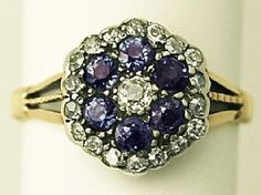 'Antique Sapphire and Diamond Ring' http://www.acsilver.co.uk/shop/pc/0-58-ct-Sapphire-and-0-52-ct-Diamond-18-ct-Yellow-Gold-Cluster-Ring-Antique-Circa-1900-p4207.htm