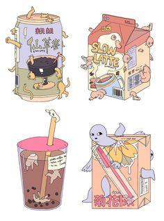 f choo - extra sugar - 2015 Art And Illustration, Food Illustrations, Kawaii Drawings, Cute Drawings, Pretty Art, Cute Art, Cute Food Art, Art Kawaii, Kawaii Anime