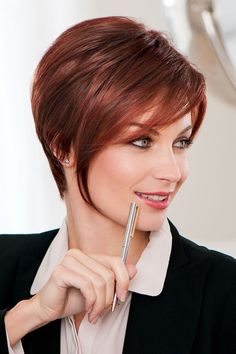 Salon Sleek by Eva Gabor Wigs - Hand-tied, Monofilament Wig - Wigs Shaved Pixie Cut, Pixie Cut With Bangs, Short Hair Cuts, Short Hair Styles, Eva Gabor, Short Pixie Haircuts, Pixie Hairstyles, Gabor Wigs, Monofilament Wigs
