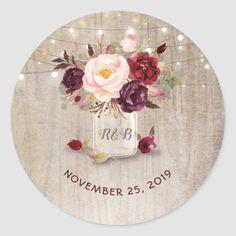 Marsala Flowers Mason Jar Rustic Wedding Classic Round Sticker Firefly Wedding, Burgundy And Gold, Burgundy Wedding, Blue Wedding, Rustic Mason Jars, Floral Wedding, Wedding Rustic, Wedding Ideas, Wedding Fun