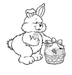 coloriage lapin qui remplit son panier d\
