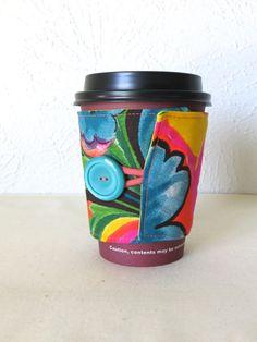 Fabric Coffee Cozy Bright Tropical Design by ThreadBasket on Etsy