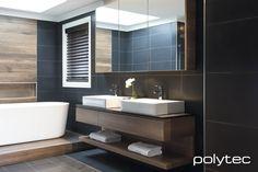 Polytec Bathroom - Bathroom vanity in Sepia Oak Ravine. Oak Bathroom, Bathroom Cabinetry, Laundry In Bathroom, Bathroom Layout, Bathroom Shelves, Bathroom Photos, Bathroom Ideas, Bathroom Designs, Bad Styling
